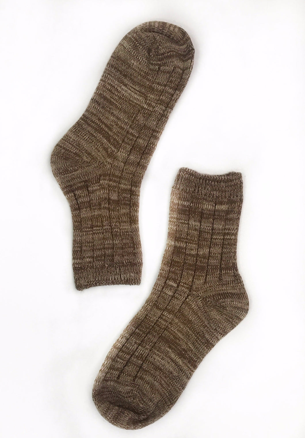 Light Brown Ribbed Sock
