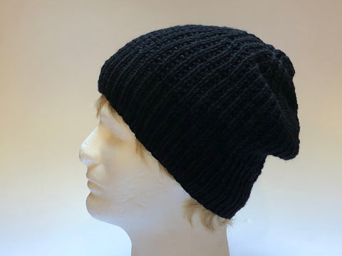 Hand Knit Black Slouch Style Hat