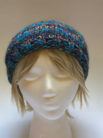 Hand Knit Aqua Multicolor Beanie Style Hat