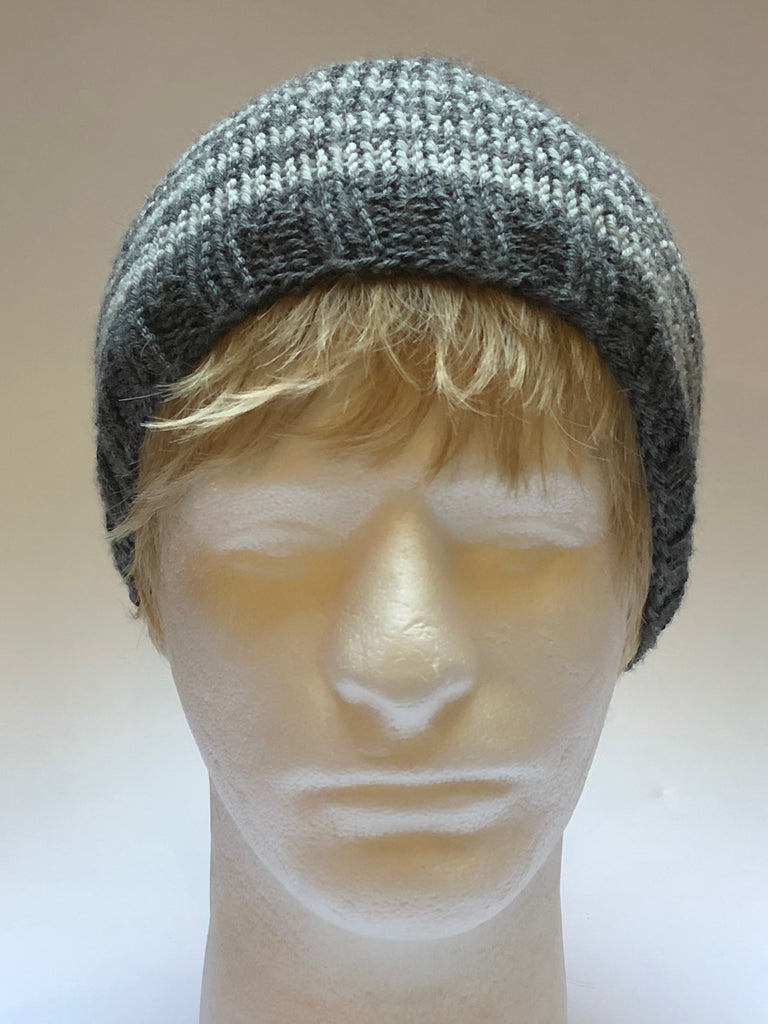 "Hand Knit Charcoal Striped ""Bam Beanie"" Hat"