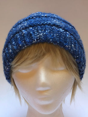 Hand Knit Bright Blue Hat
