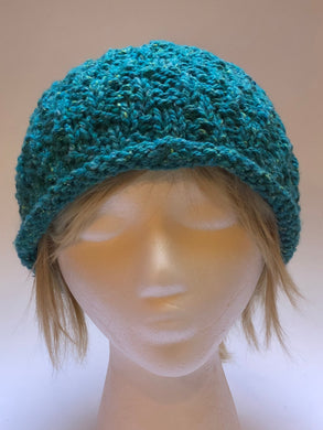 Hand Knit Teal Rolled Brim Hat