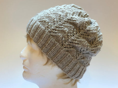 Hand Knit Ash Colored Hat
