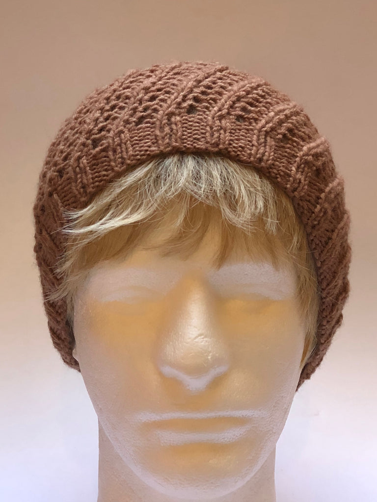 Hand Knit Carmel Colored Hat