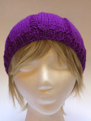 Hand Knit Red Violet Colored  Beanie Hat