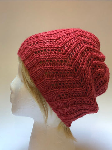 Hand Knit Brick Red Colored Hat