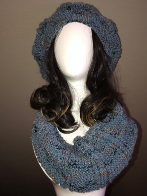 Hand Knit Steel Blue Hat and Cowl Set