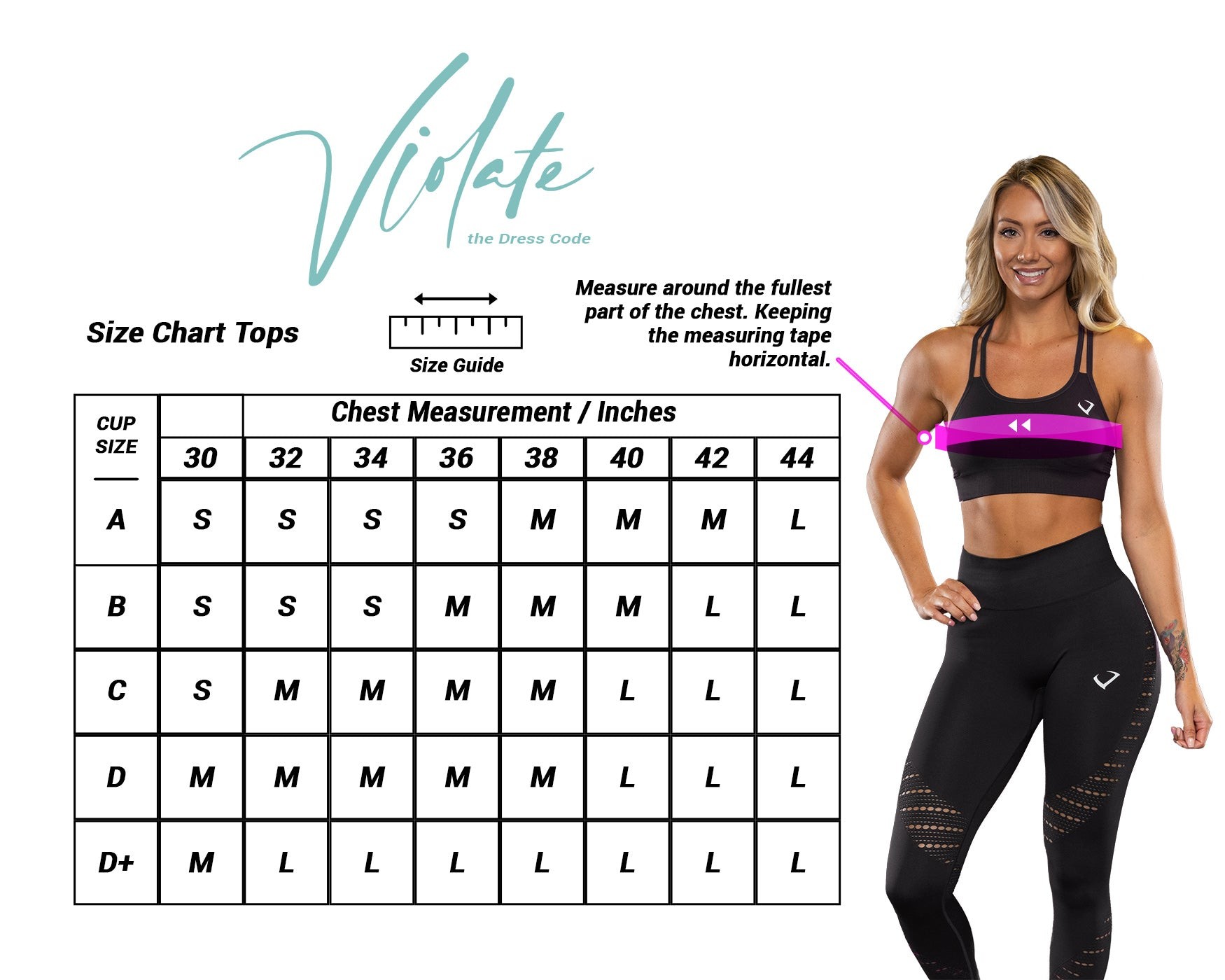 Violate The Dress Code Tops Size Chart