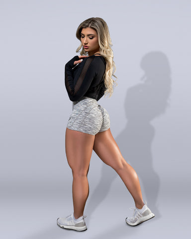 Luxe Mesh Long Sleeve Crop Black - Violate The Dress Code