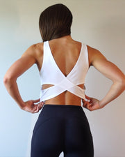 Cross Back Tank White