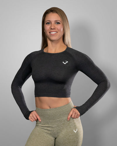 Amore Seamless Long Sleeve Crop Charcoal