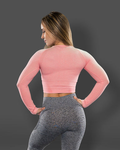 Amore Seamless Long Sleeve Crop Coral