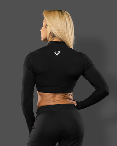 Zip Up Long Sleeve Crop - Black