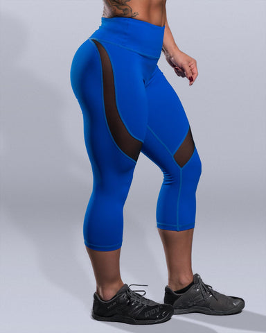 Desire Blue Mesh High Waist Capris - Violate The Dress Code