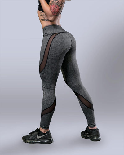 Desire Heather Grey Mesh Leggings - Violate The Dress Code