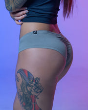 """You Want the V"" Scrunch Butt Booty Shorts - Grey"