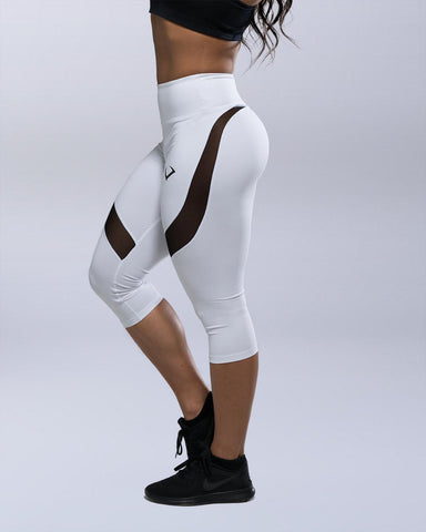 Desire White High Waist Capri