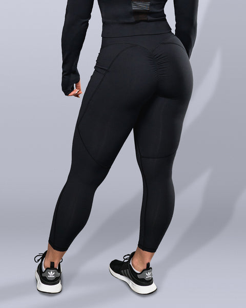 Luxe Black Scrunch Butt Leggings - Violate The Dress Code