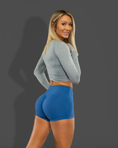 Luxe Blue Scrunch Butt Shorts