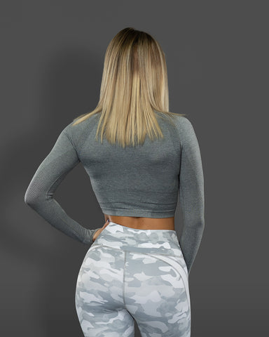 Amore Seamless Long Sleeve Crop Grey