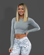Amore Seamless Long Sleeve Crop Light Grey
