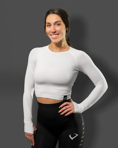 Amore Seamless Long Sleeve Crop White