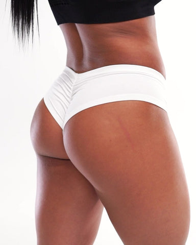 """You Want the V"" Scrunch Butt Booty Shorts - White"