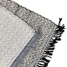 Azulina Home - Black Bath Mat Rug layered with grey rug closeup of corner edges