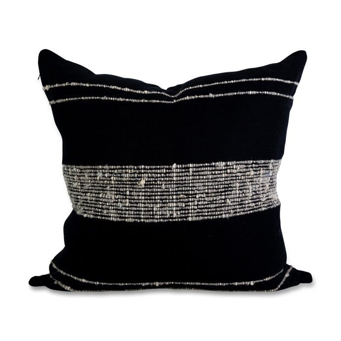 Azulina Home - Bogota Pillow - Black Cotton with Ivory Wool Stripes