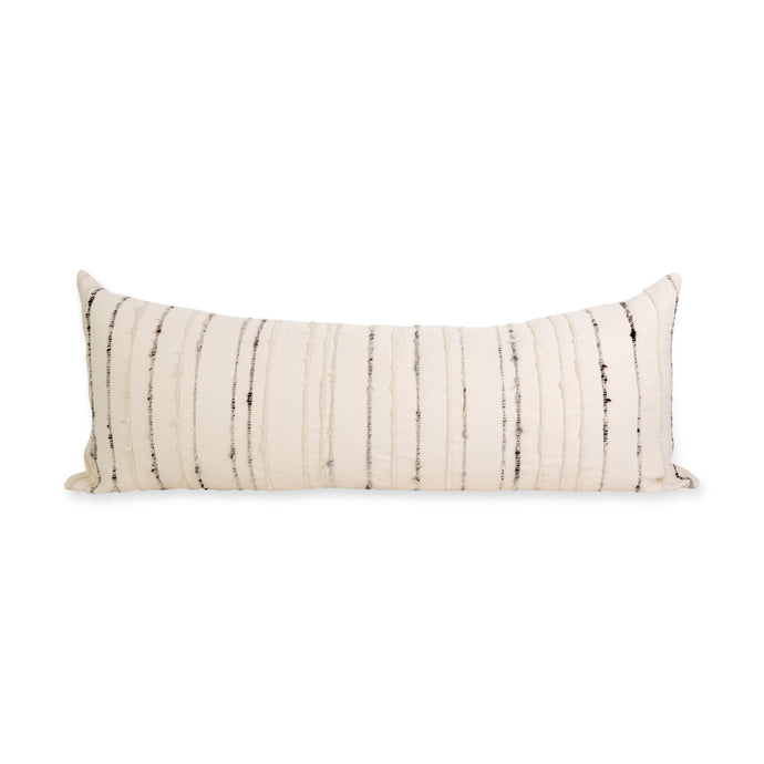 Azulina Home - Carmen Lumbar Pillow - Ivory cotton with ivory and grey wool stripes.