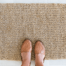 Azulina Home - Arena Door/Bath Mat - Fique - Natural with shoes to show size outdoor patio rug