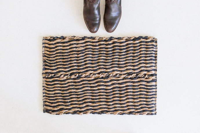 Door Mat - Black Diagonal