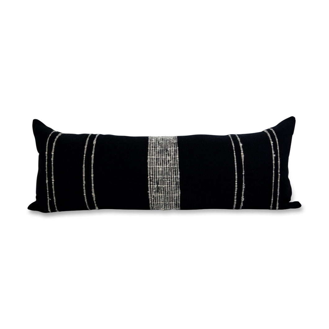 Azulina Home - Bogota Large Lumbar Pillow - Black with Ivory Stripes - Stripes across the pure cotton twill base create a clean-lined and versatile pattern that celebrates the natural materials. 95% cotton and 5% virgin wool, locally sourced in Colombia. Hand crafted, combining the heritage of loom weaving with modern design.