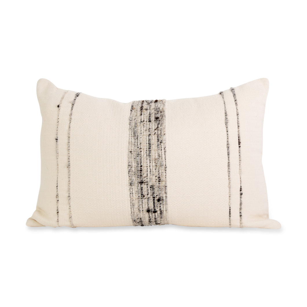 Azulina Home - Bogota small lumbar pillow - ivory cotton with grey wool stripes.