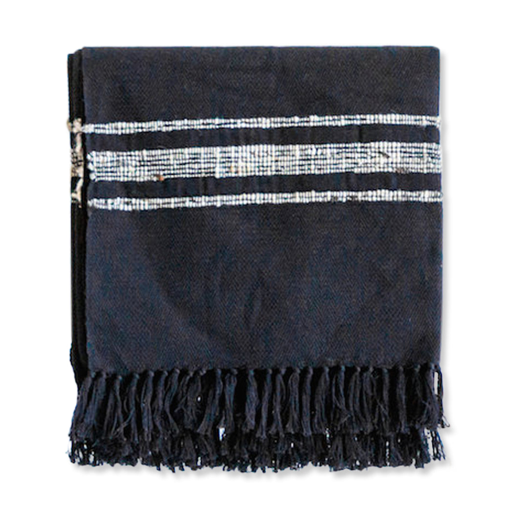 Azulina Home - Bogota Throw - Black/Ivory - Locally sourced wool traces marled stripes across this pure cotton throw blanket creating a clean-lined and versatile pattern that celebrates its natural materials.