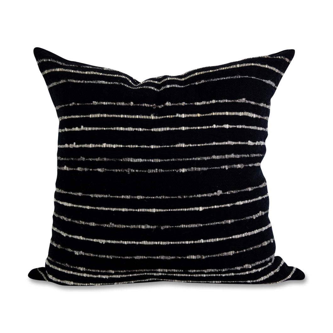 Azulina Home - Carmen Pillow - Black with grey and ivory stripes - Stripes across the pure cotton twill base create a clean-lined and versatile pattern that celebrates the natural materials. 95% cotton and 5% virgin wool, locally sourced in Colombia. Hand crafted, combining the heritage of loom weaving with modern design.