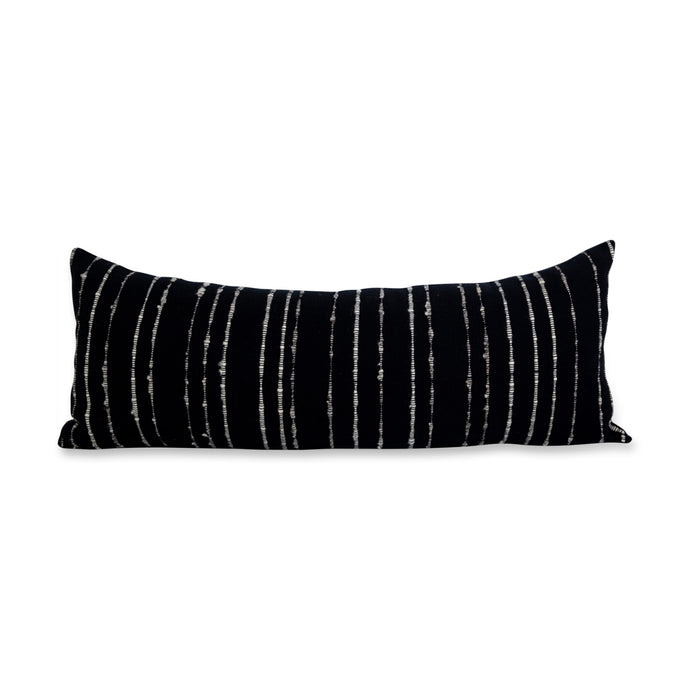 Azulina Home - Carmen large lumbar pillow - black with grey and ivory stripes - Stripes across the pure cotton twill base create a clean-lined and versatile pattern that celebrates the natural materials. 95% cotton and 5% virgin wool, locally sourced in Colombia. Hand crafted, combining the heritage of loom weaving with modern design.