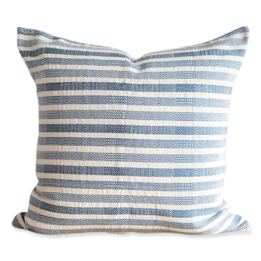 Azulina - Linea Pillow - Azure - Light Blue and white striped cotton pillow - 20