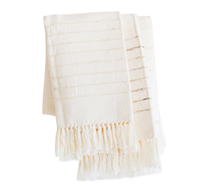 Salento Throw: Grey + Ivory
