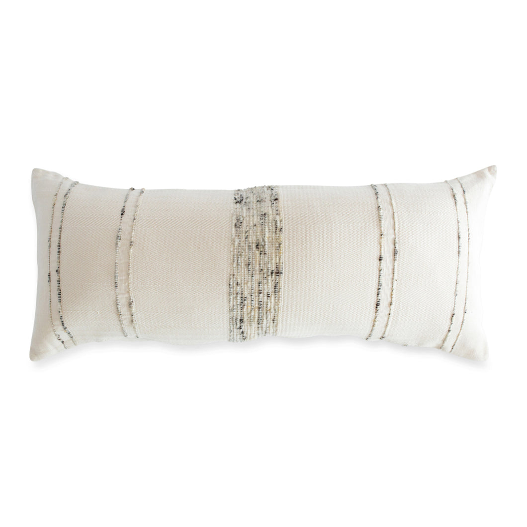 Bogota Lumbar Pillow - Ivory Cotton with grey wool stripes