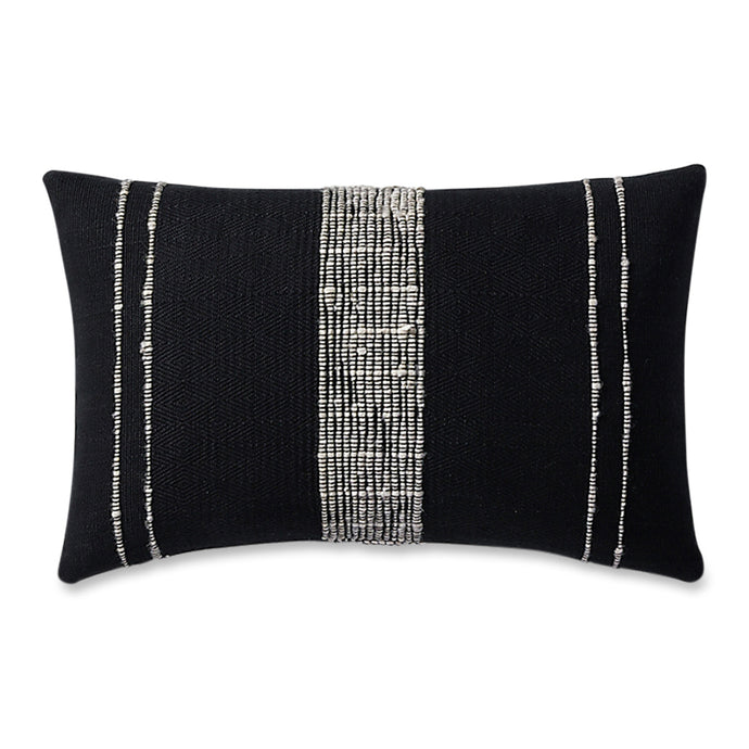 Azulina Home - Bogota Lumbar pillow small - black cotton with ivory wool stripes.