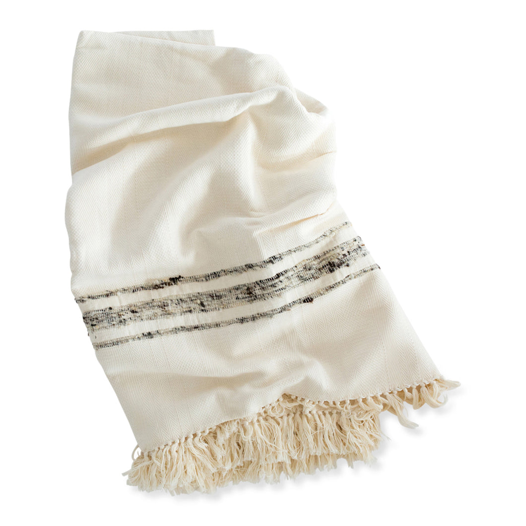 Azulina - Bogota Throw Blanket - Ivory Cotton with grey wool stripes.