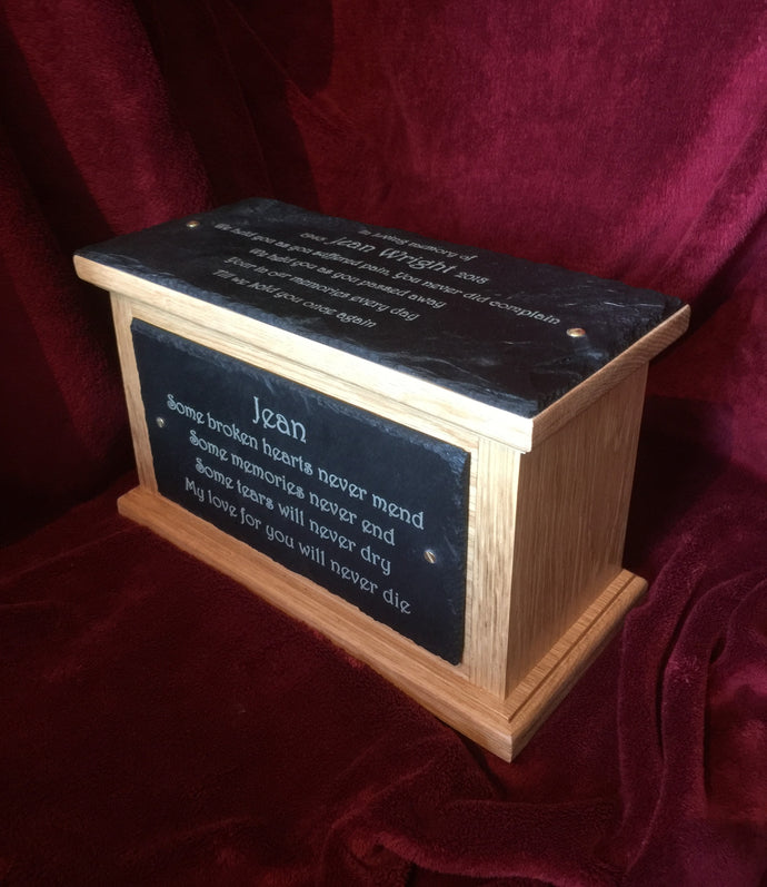 Large Tall Memorial Personalised Ashes Urn with Double Plaques