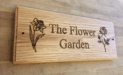 Wooden Oak House Signs