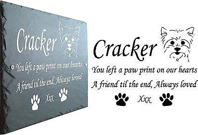 Pet Memorial Slate Plaque, Personalised for your Yorkshire Terrier