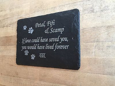 Hand Made Slate memorial plaques - Beautiful Pet Grave Markers