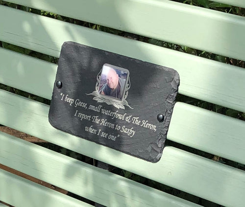Photo plaques for memorial benches