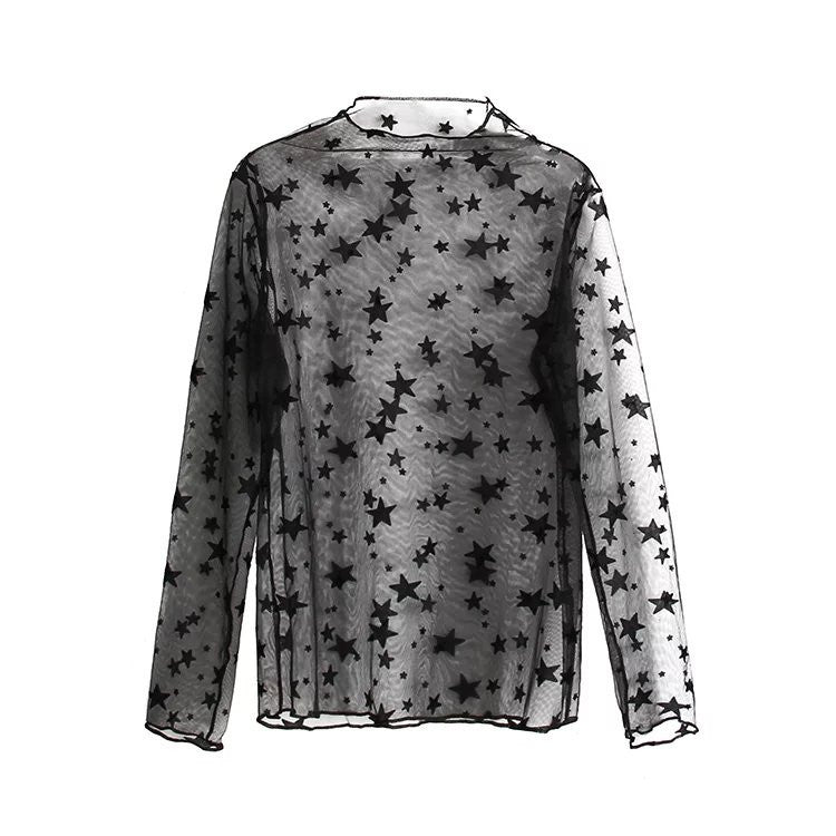 LIGHT TRANSPARENT GAUZE LONG SLEEVE DOTS STARS