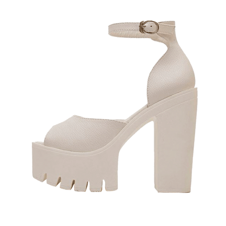 HUGE HEEL PLATFORM WHITE BLACK SANDALS