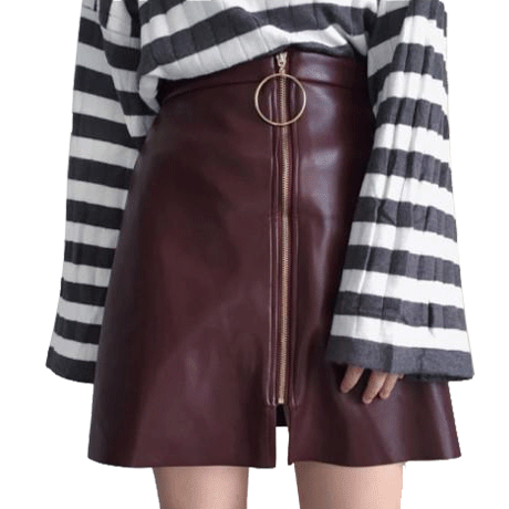LEATHER SKIRT METALLIC RING FRONT ZIPPER